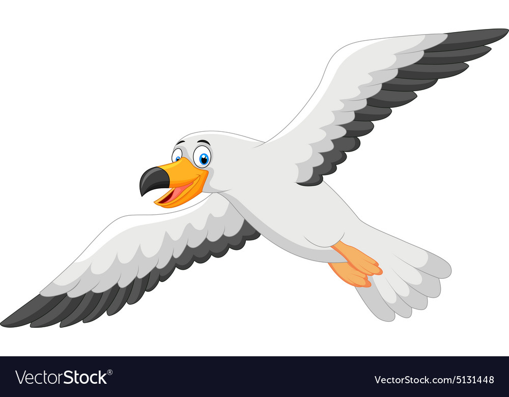 cartoon smiling seagull vector image on vectorstock rh vectorstock com seagull cartoon images seagull cartoon vector