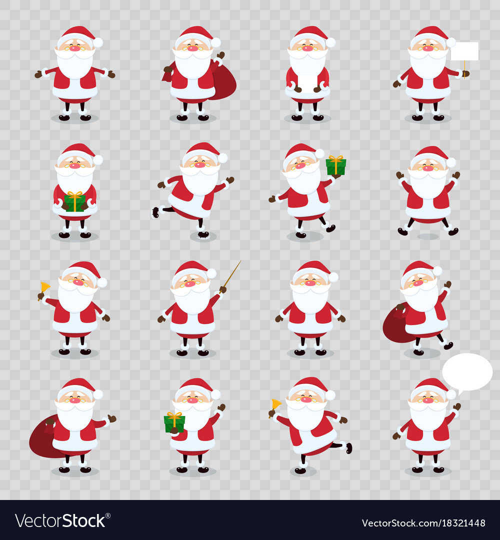 Cute santa claus icon set in flat style vector image