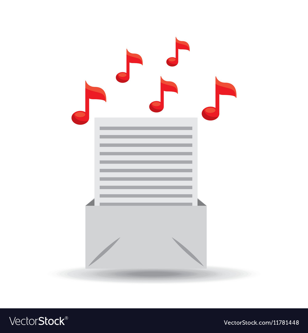 Email paper music note design vector image