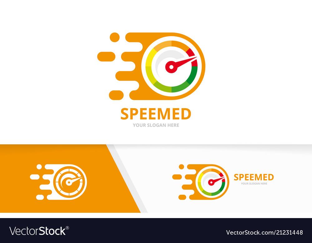 Fast speedometer logo combination speed