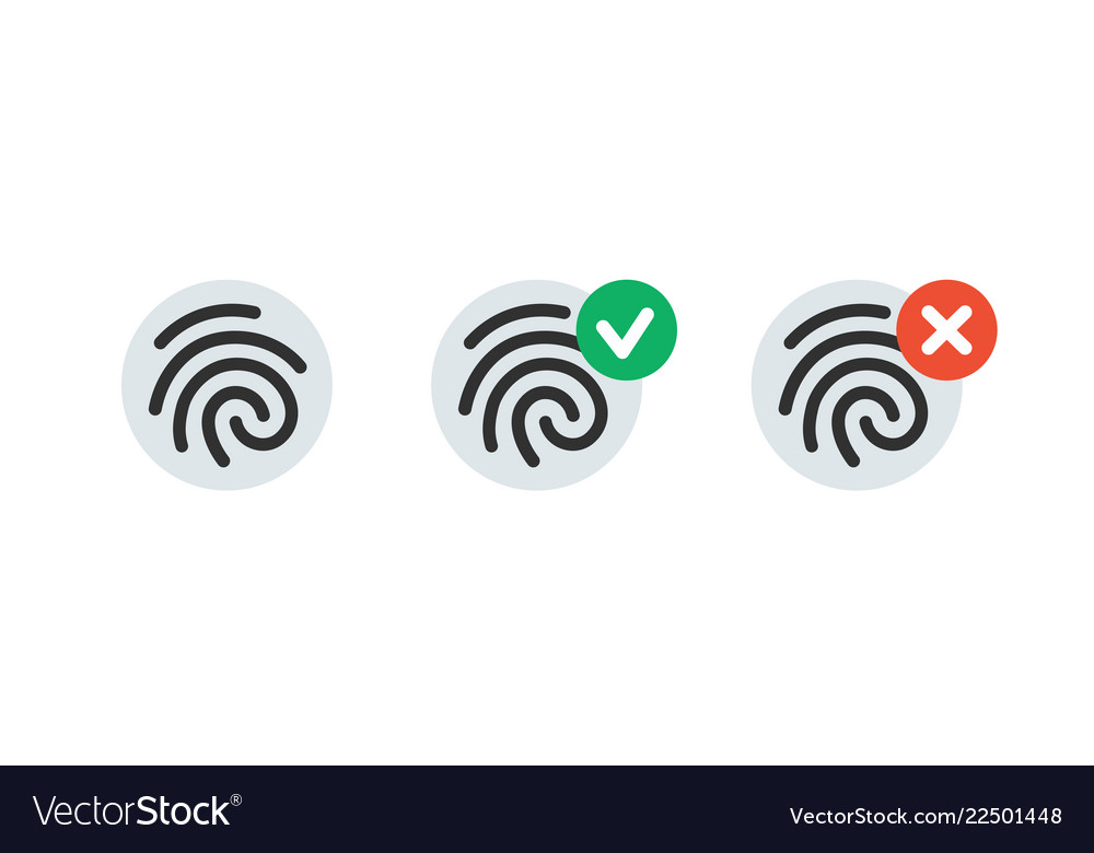 Fingerprint simple icon accepted and rejected