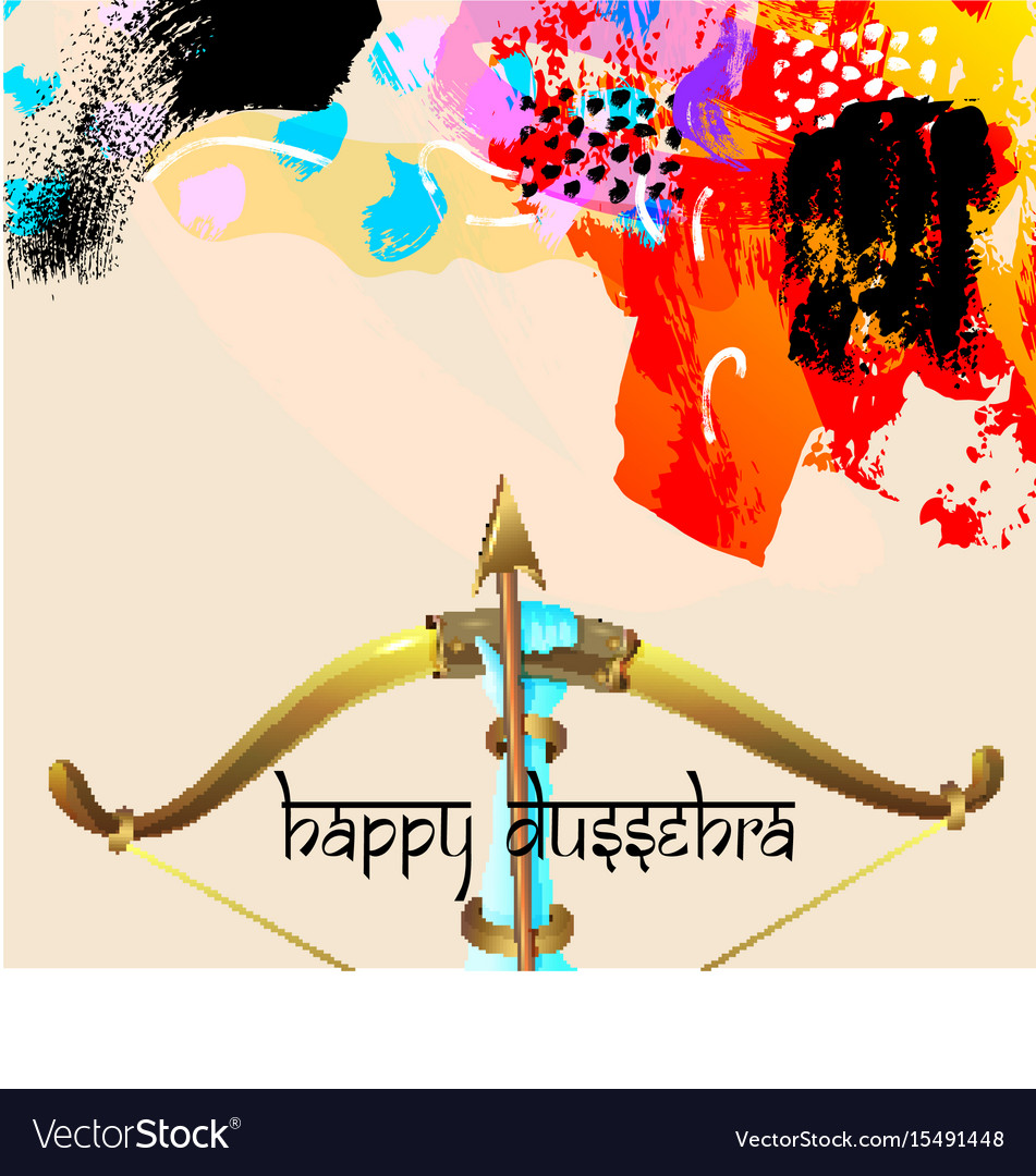 Happy dussehra greeting card with krishna bow vector image m4hsunfo