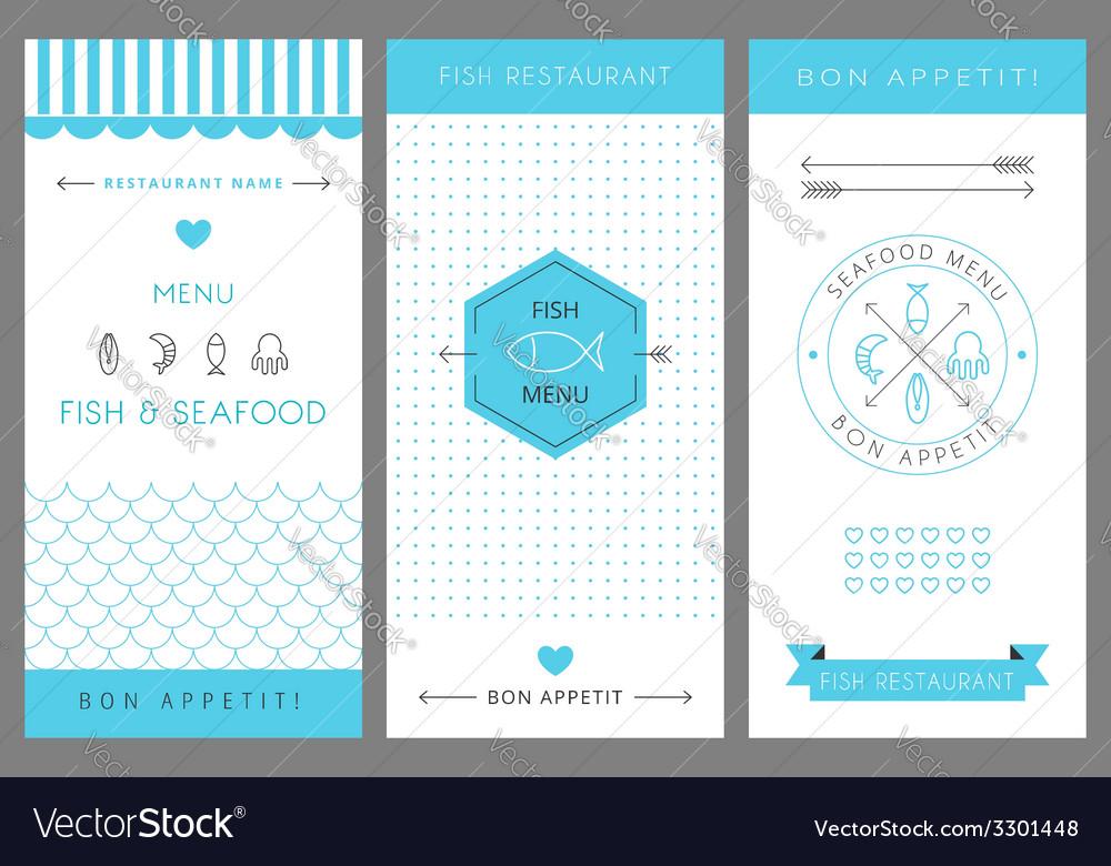 restaurant menu design template seafood royalty free vector