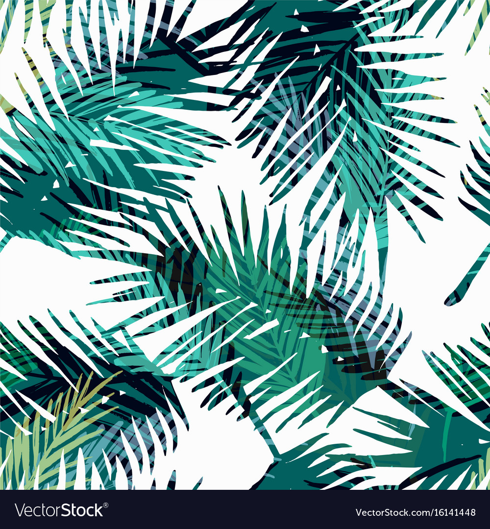 Seamless exotic pattern with tropical palm leaves