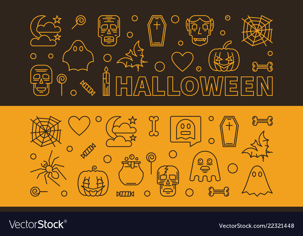 Set 2 halloween outline horizontal