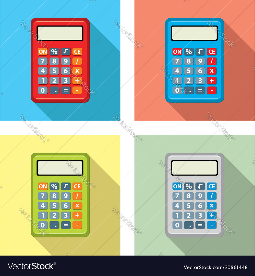 Set of calculator icons flat graphic style