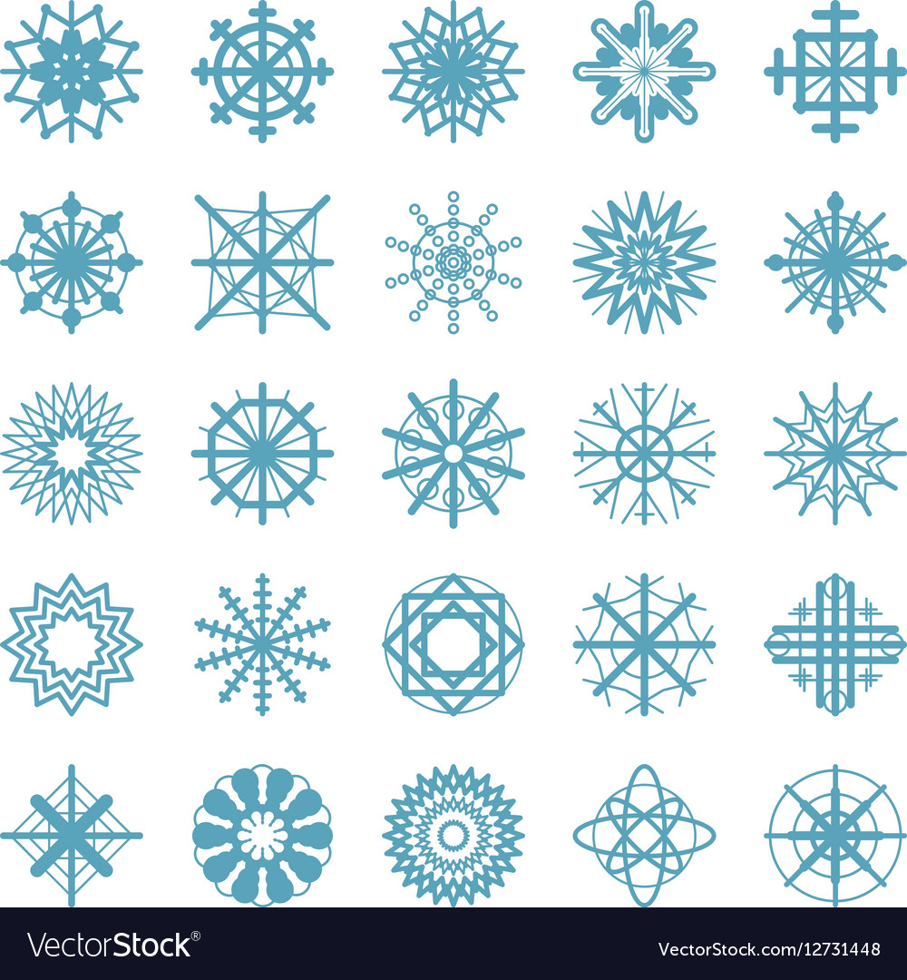 Set Of Winter Snow Flakes Symbols Royalty Free Vector Image