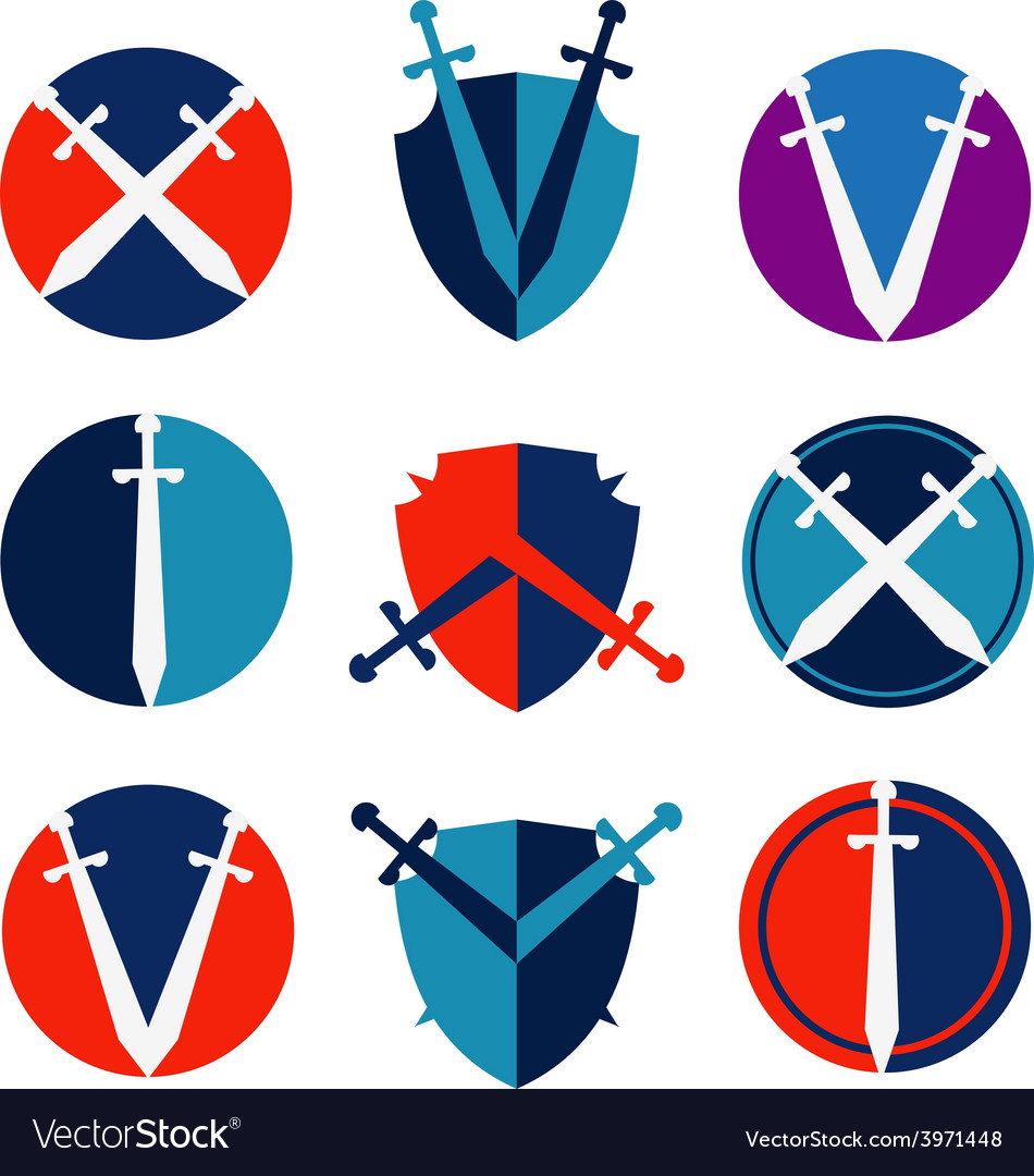 Sword and shield logo design template protect or