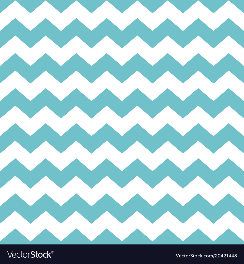 Tile pattern with green zig zag print on white Vector Image