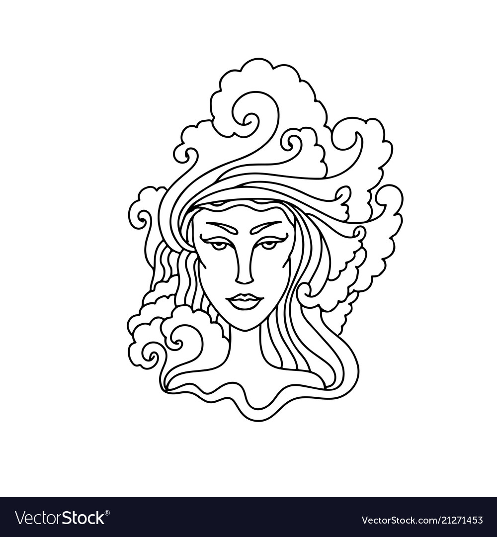 Aquarius girl portrait zodiac sign for adult