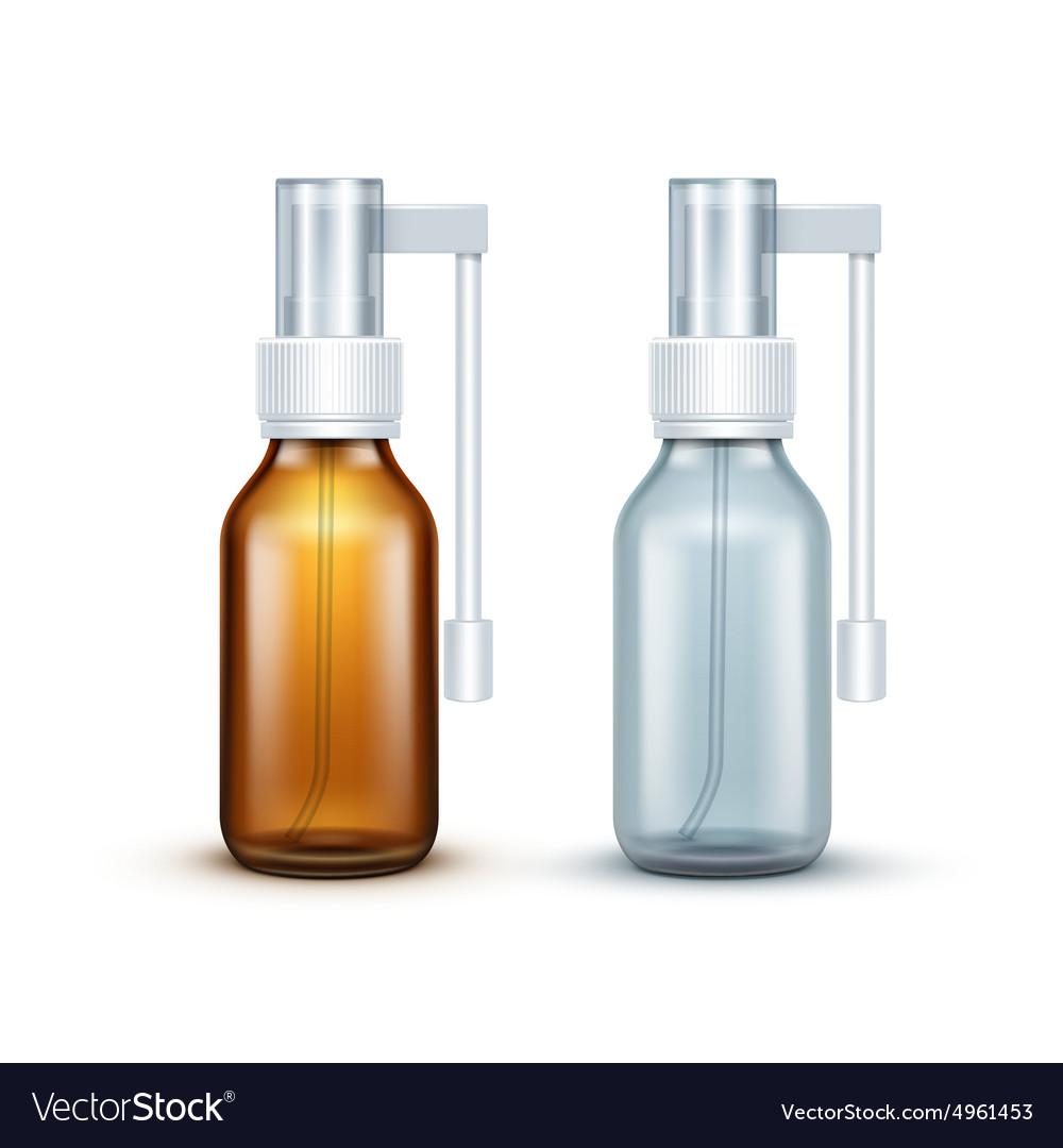 Blank Glass Medical Spray Bottle Isolated