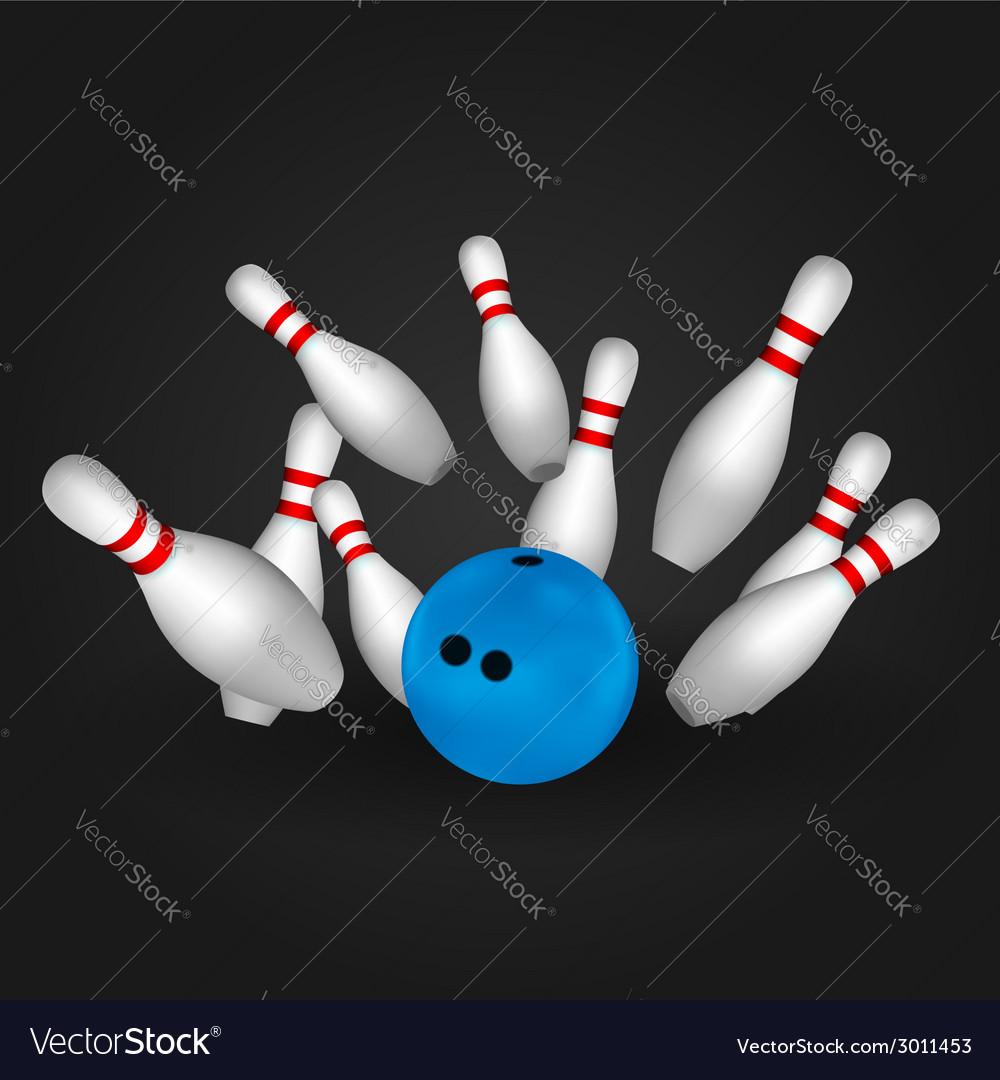 Bowling pins and bowl vector image