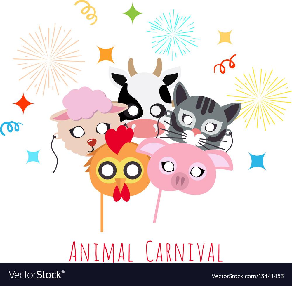Childish animal masks cock pig cow sheep cat