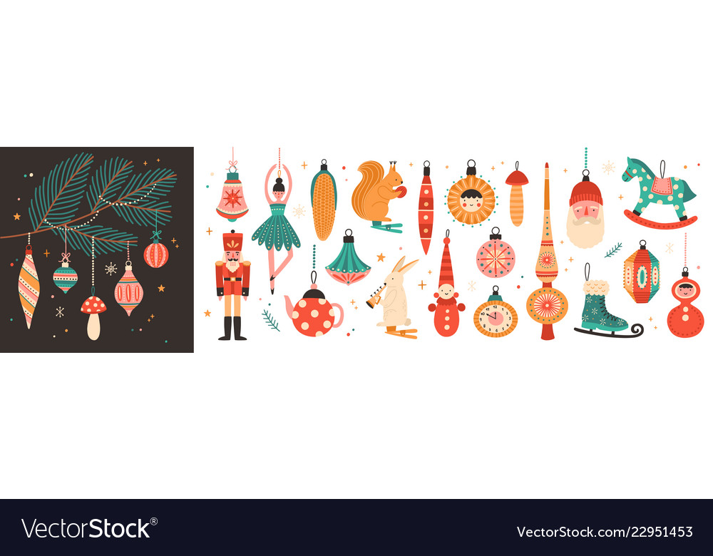 Collection of beautiful baubles and decorations
