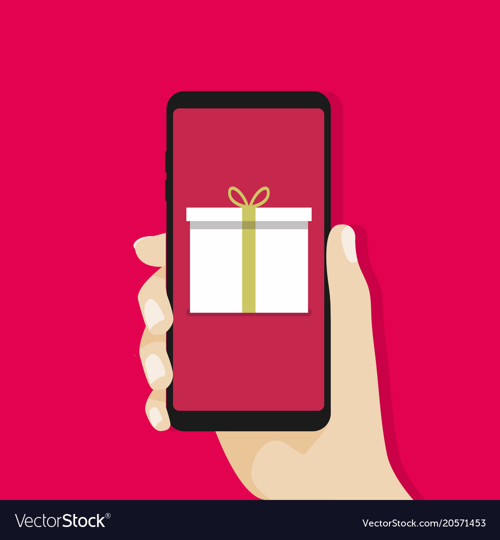 Gift box in smartphone screen