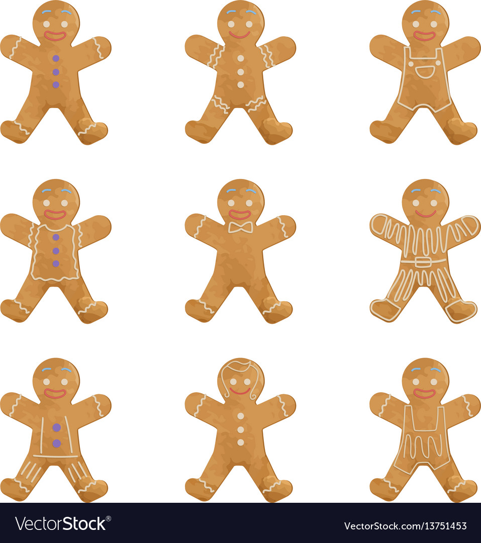 Gingerbread man holiday cookie set christmas