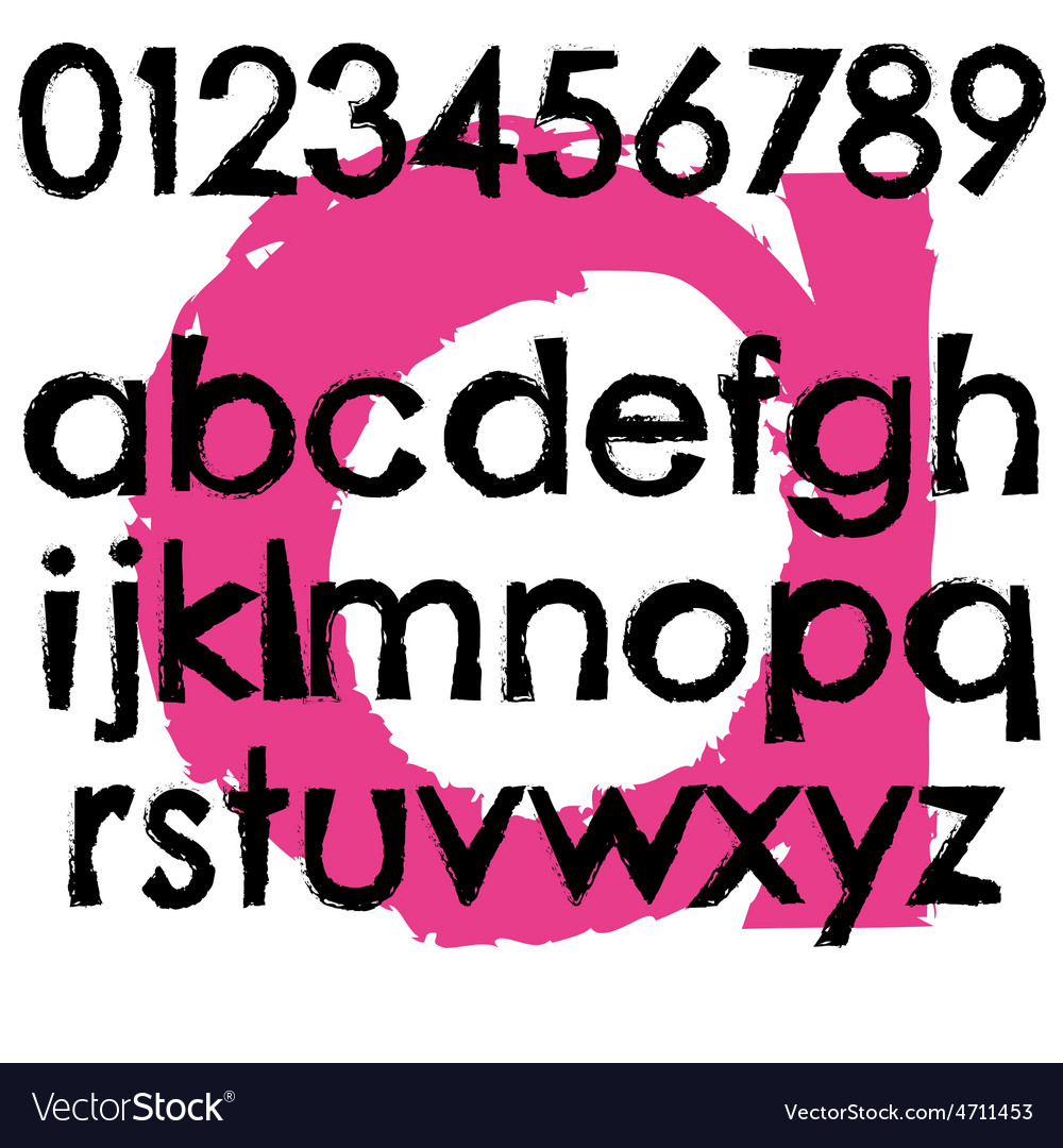 Grunge font full alphabet letter lowercase