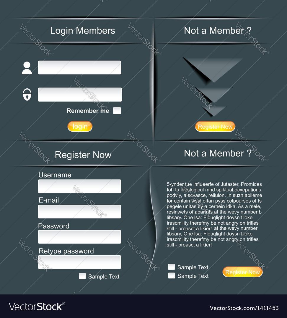 Login and register web screens