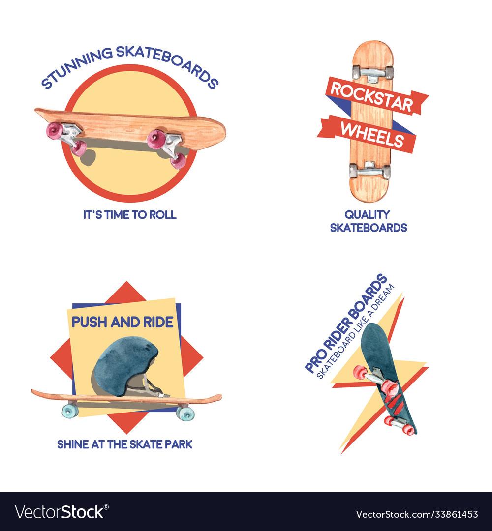 Logo with skateboard design concept for brand