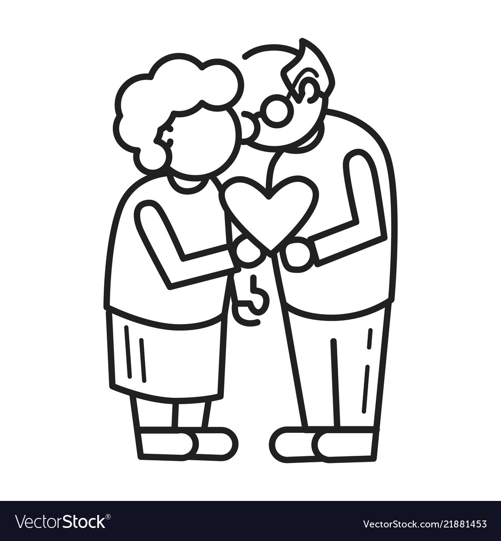 Old person love concept background outline style