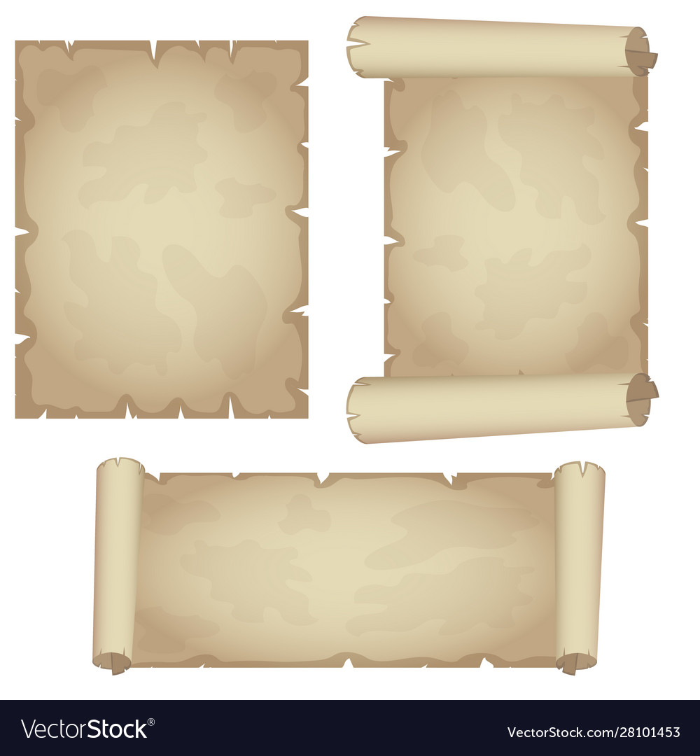 Set textured papyrus scrolls isolated on white