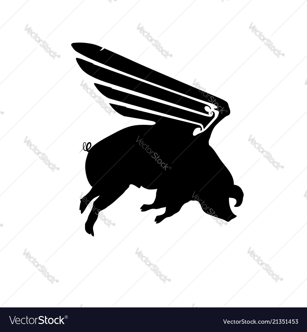 Silhouette funny piggy with wings flying pig