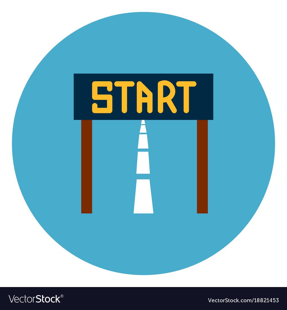Start race icon web button on round blue