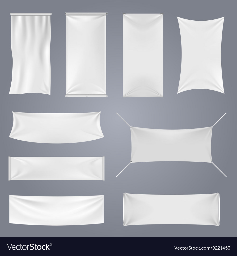 White blank textile advertising banners
