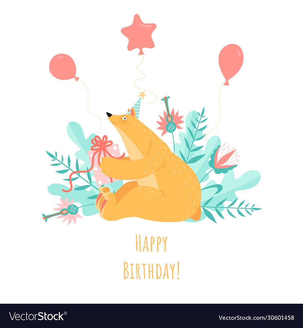 Birthday greeting card with a cute cartoon bear