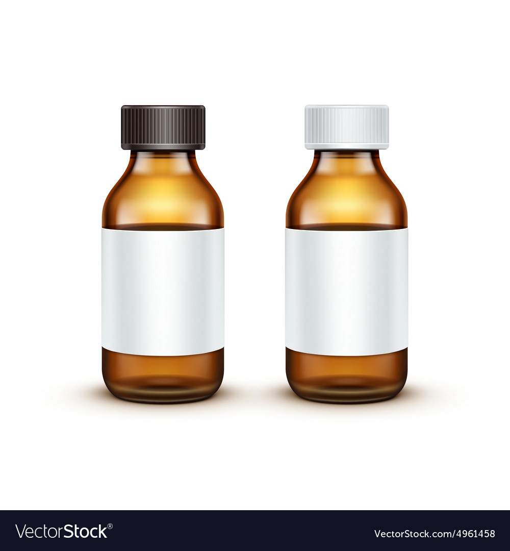 Blank Glass Medical Bottle Isolated