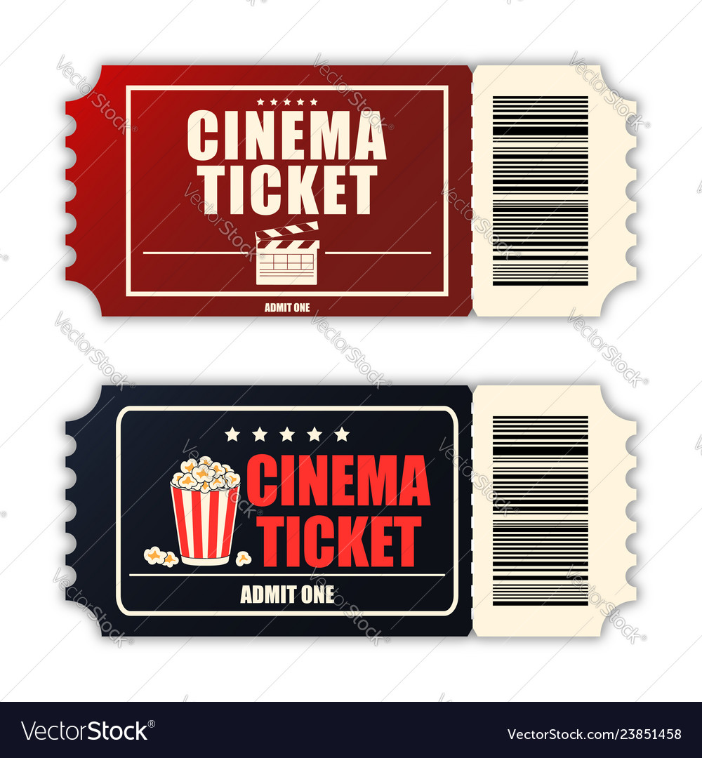 Cinema ticket set template of two realistic movie