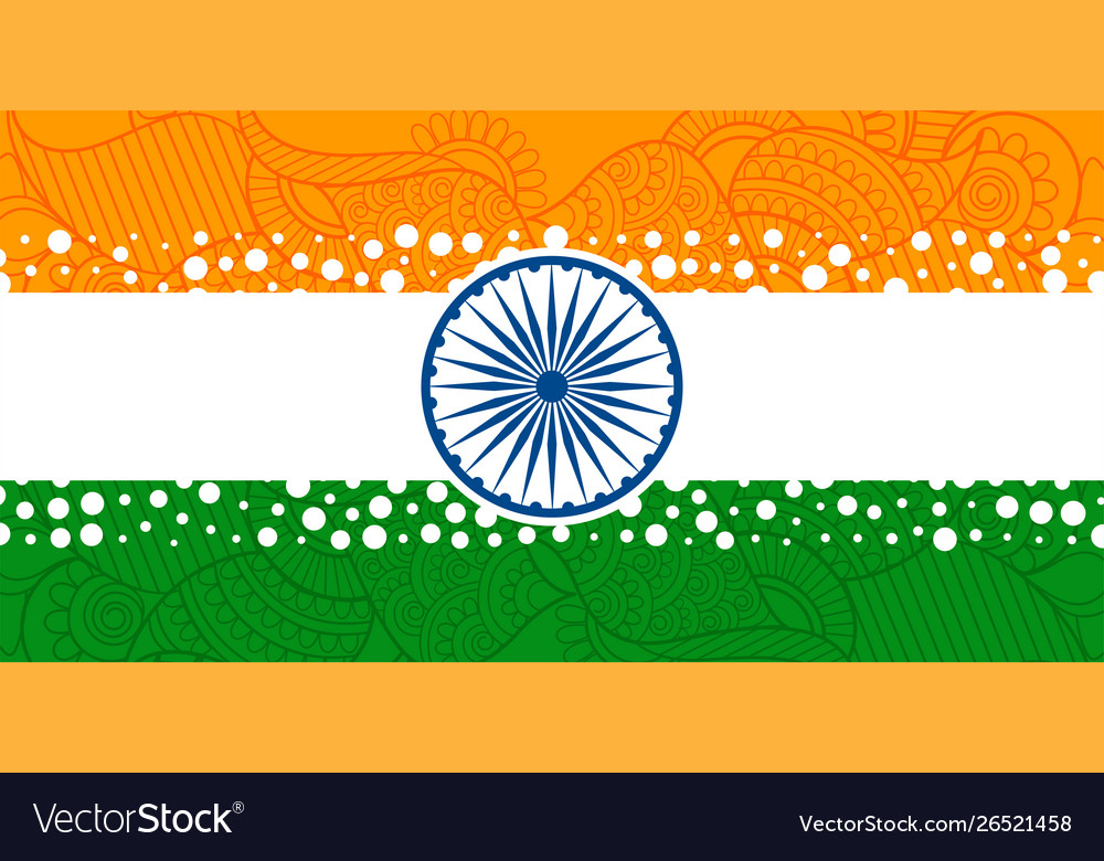 Creative indian flag with with ethnic paisley
