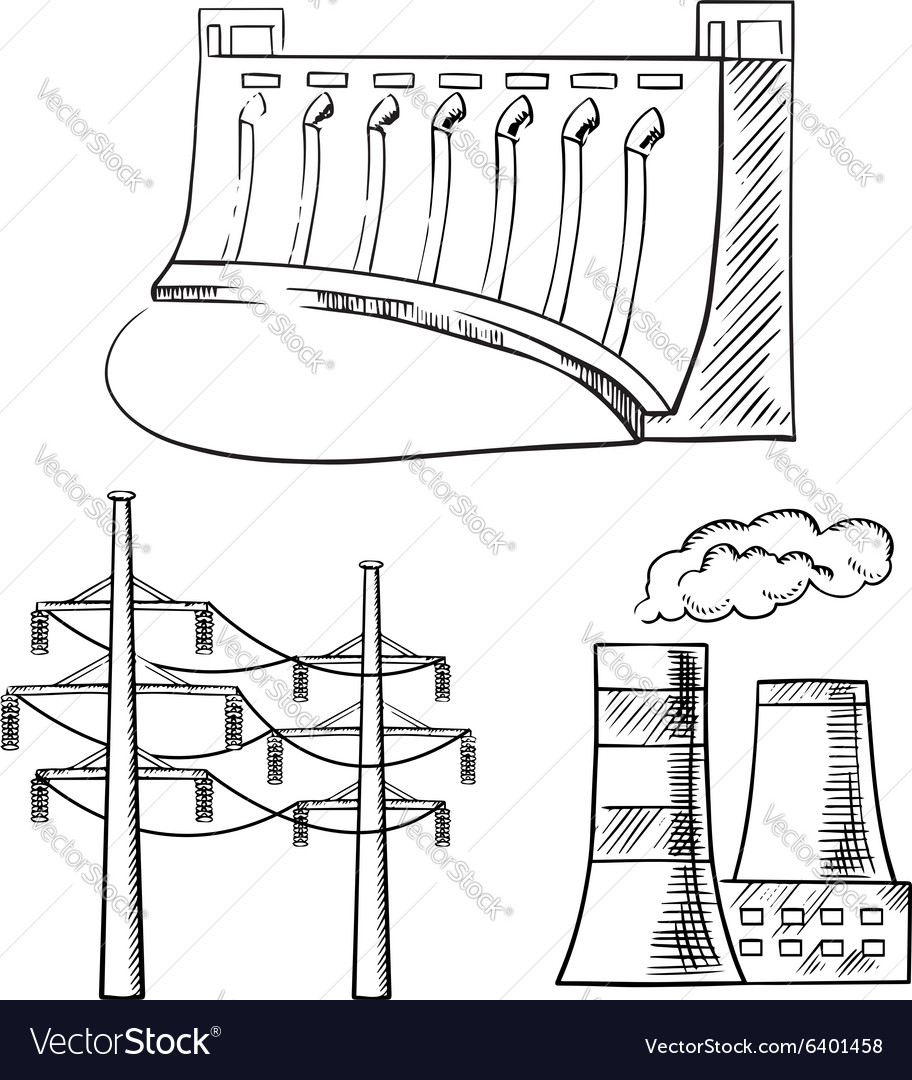 Electrical power plants and towers sketch icons