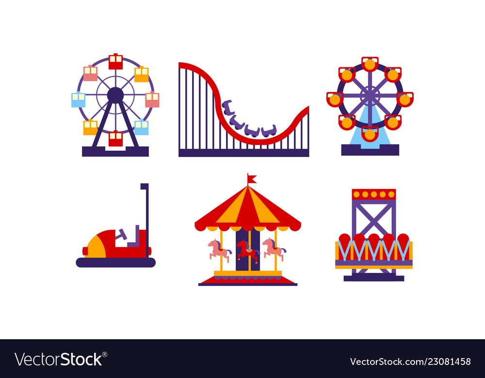 Flat set of amusement park elements