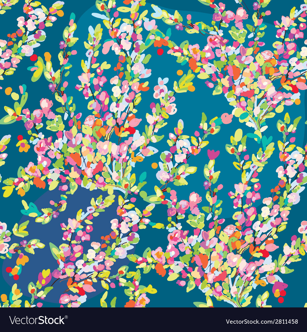 Floral seamless pattern with hand drawn blossom