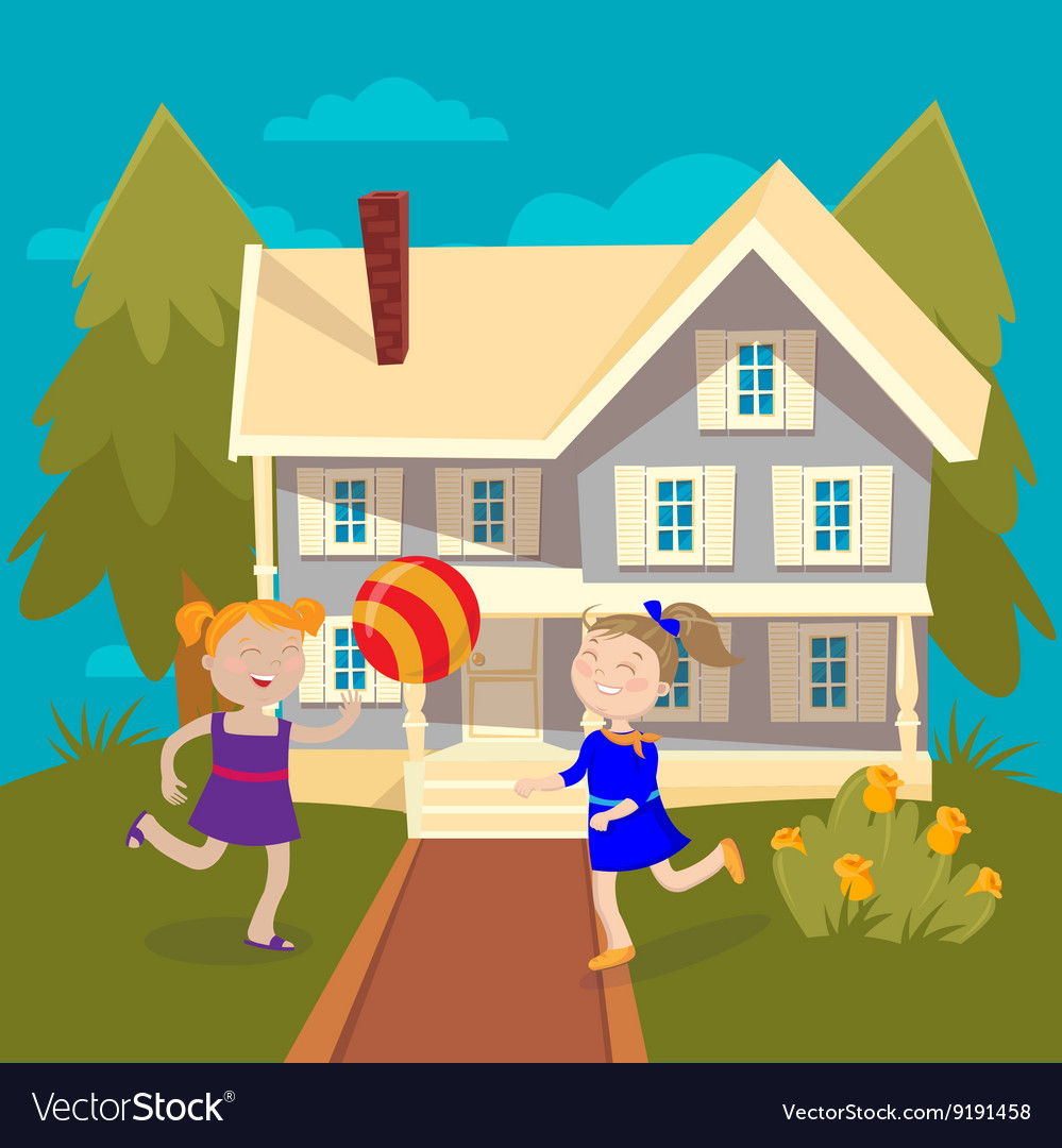 Happy Girls Playing Ball near the House Summer vector image
