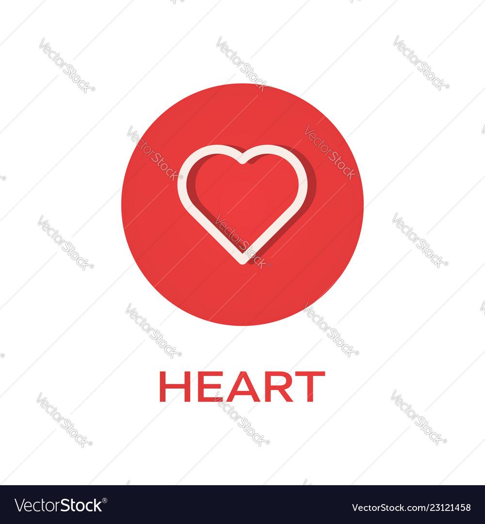 Heart round flat icon love symbol