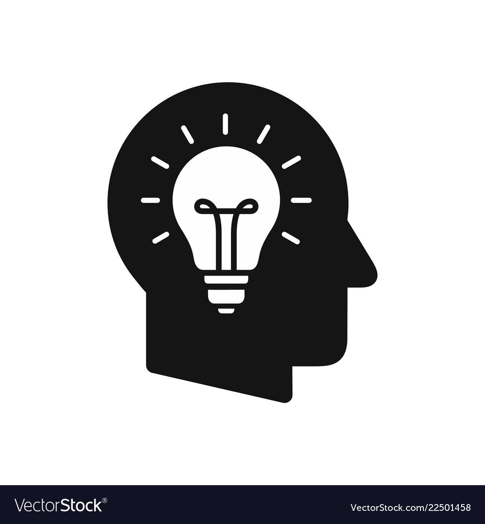 Human head profile with light bulb symbol
