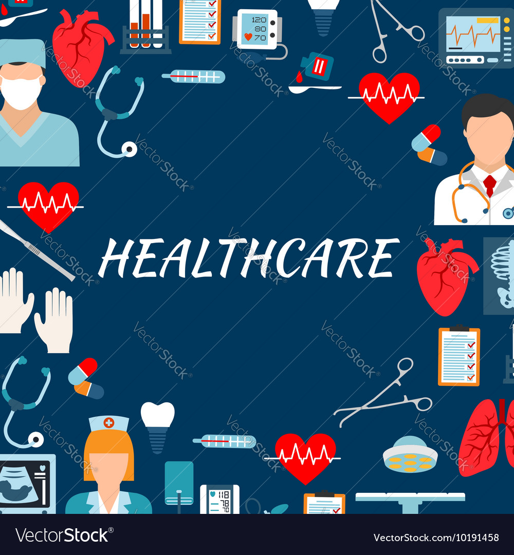 Medical services and hospital flat background vector image