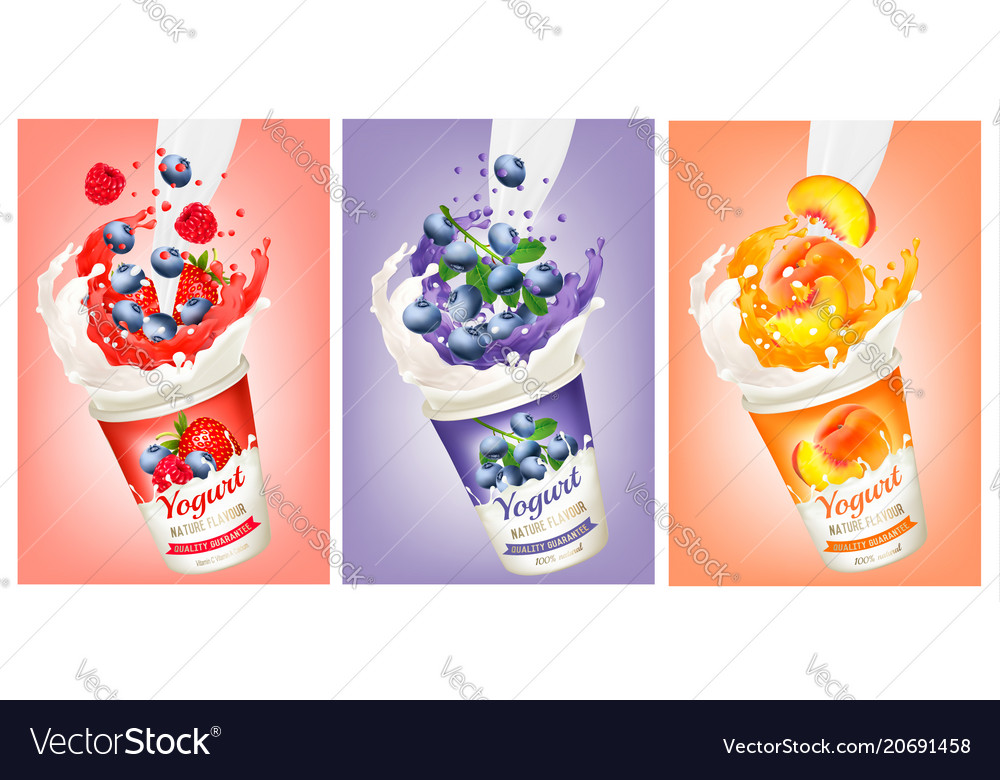 Set of yogurt with strawberry blueberry vector image