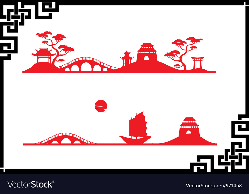 Two abstract asian landscapes