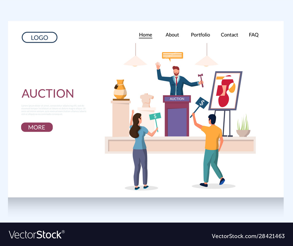 Auction Website Landing Page Design Royalty Free Vector