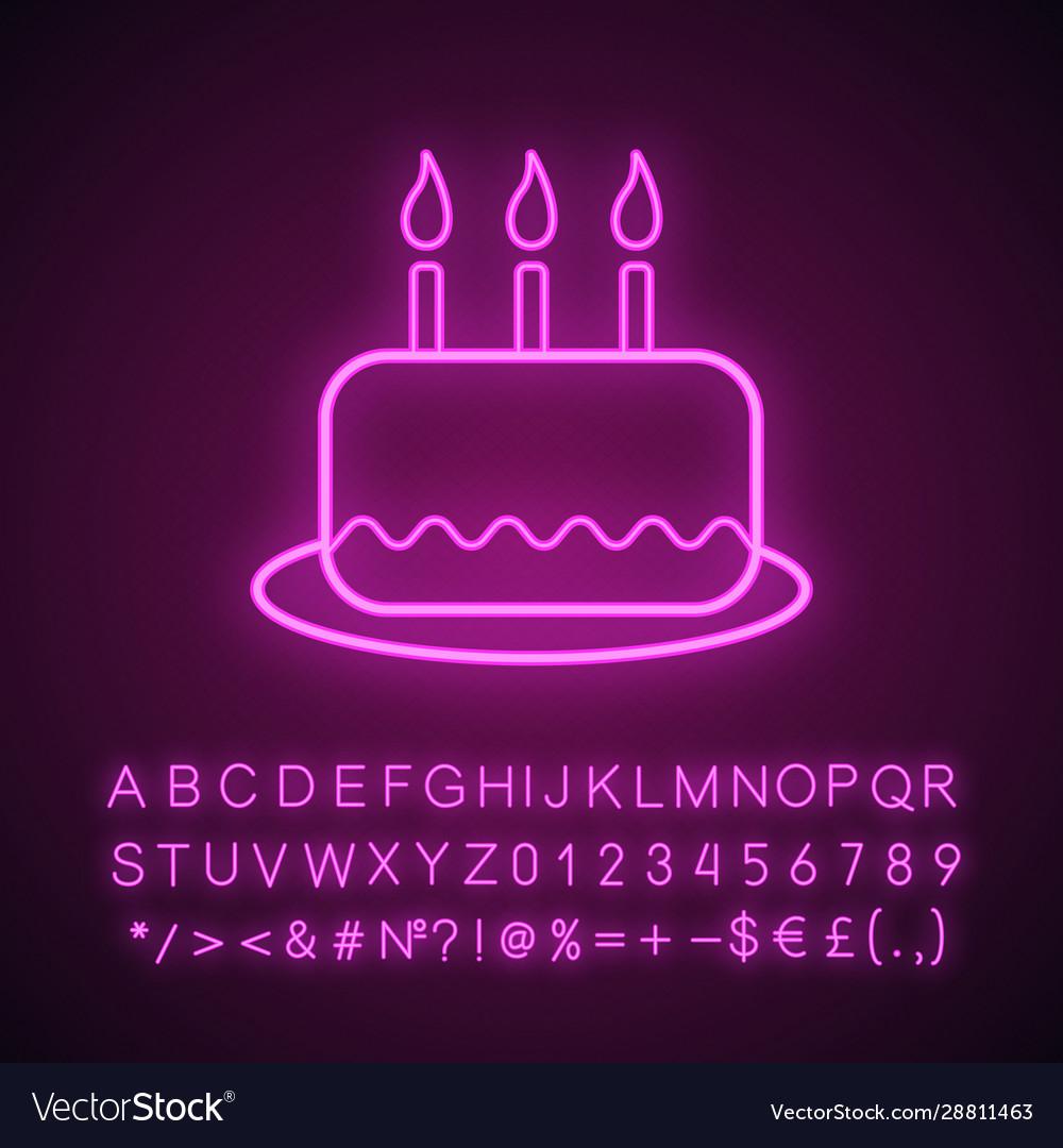 Astonishing Birthday Cake Neon Light Icon Royalty Free Vector Image Birthday Cards Printable Giouspongecafe Filternl