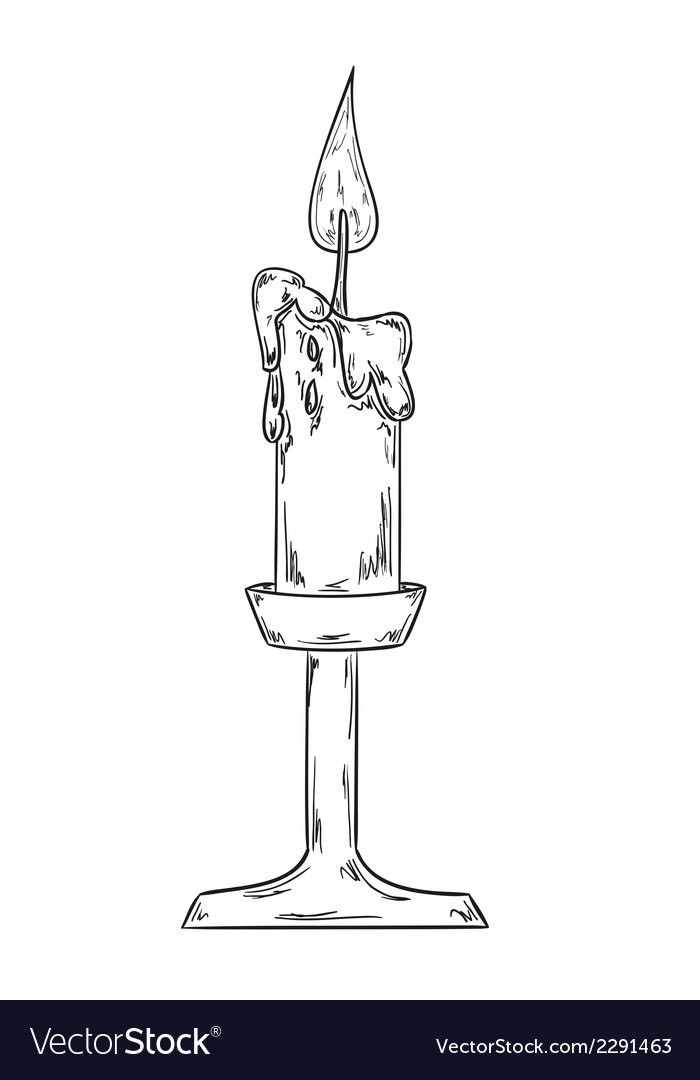 Candlestick with burning candle sketch vector image