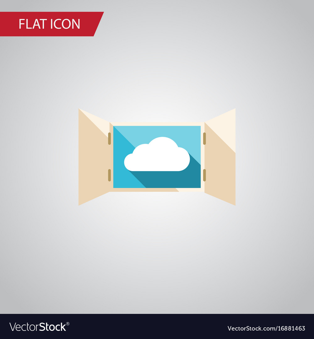 Isolated open flat icon cloud element can