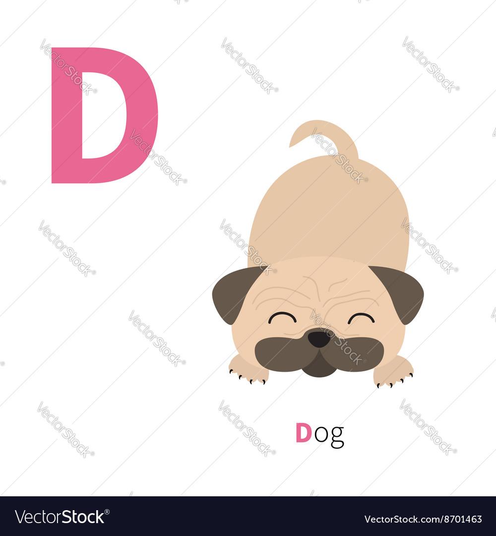 Letter d dog pug mops zoo alphabet english abc