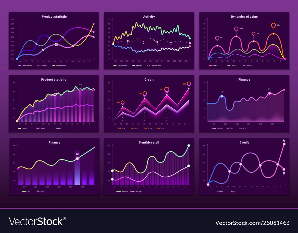 Line graph charts business financial graphs
