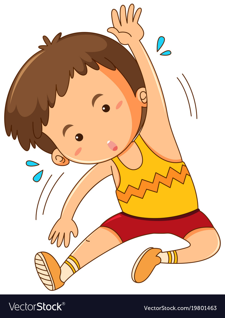 little boy stretching on white background vector image