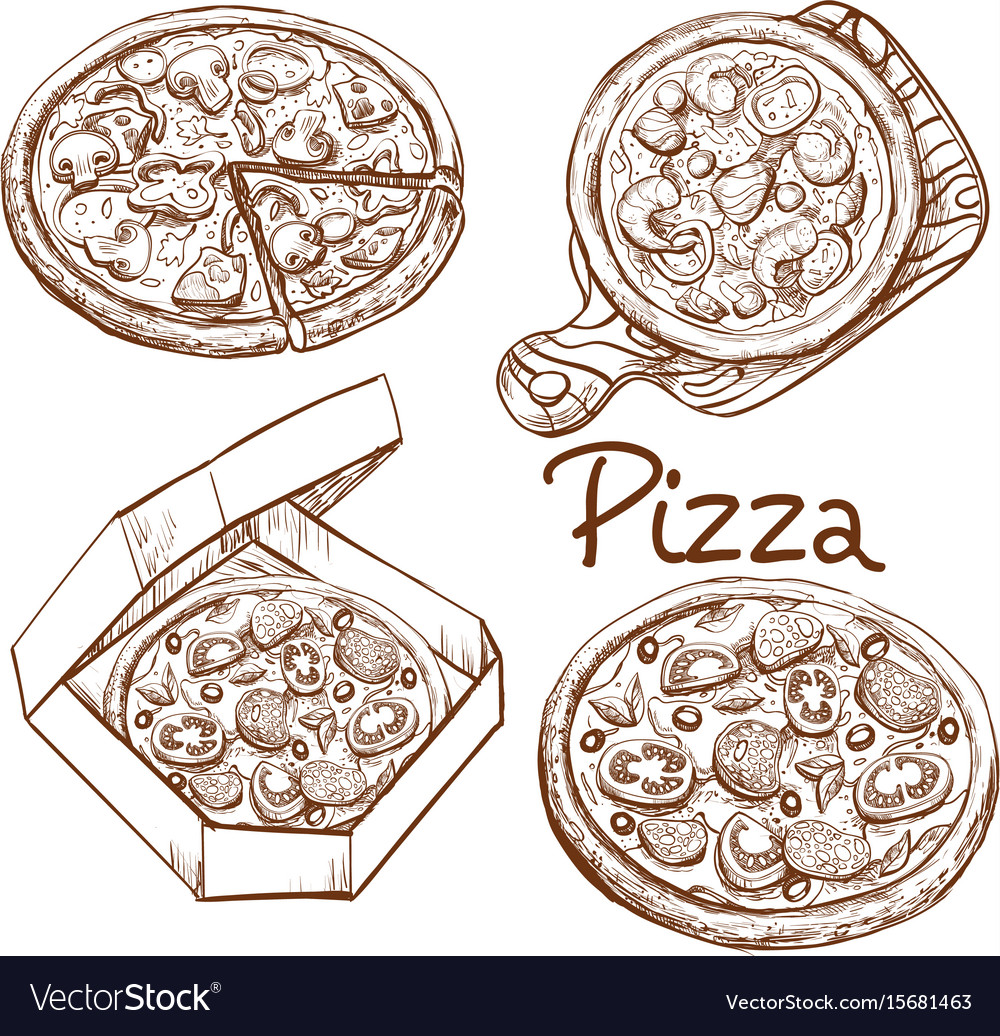 Set of whole pizza and slice