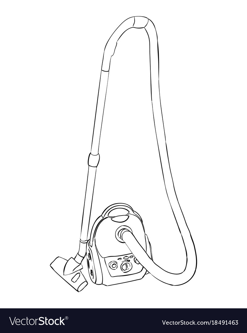 Sketch of vacuum cleaner vector image